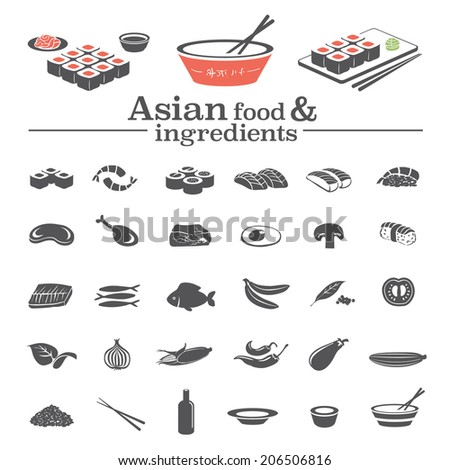 Asian food & ingredients - vector icons set & design elements