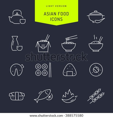 Asian food light vector Icons