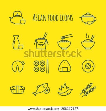 Asian food Line Icons Set