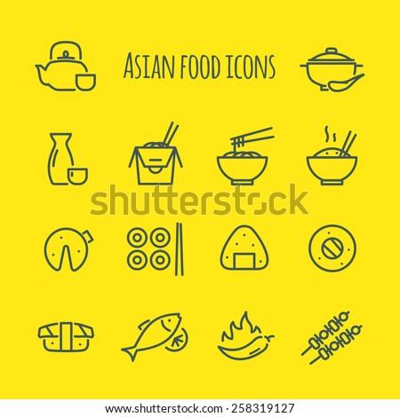 asian food line icons set