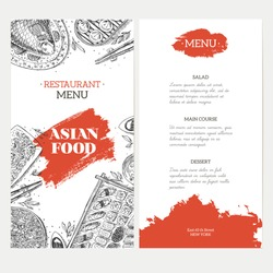 Asian Food menu template. Linear graphic. Vector illustration