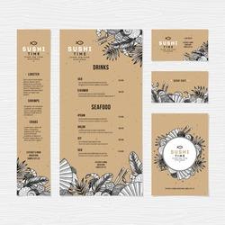 Asian food menu template. Sushi restaurant identity. Engraved style illustration. Vector illustration