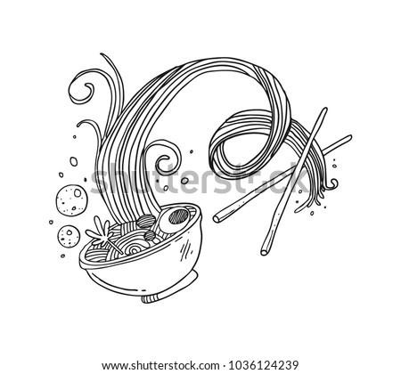 Asian food noodle sketch