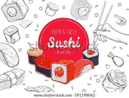 Asian Food poster. Vector hand drawn, Sushi