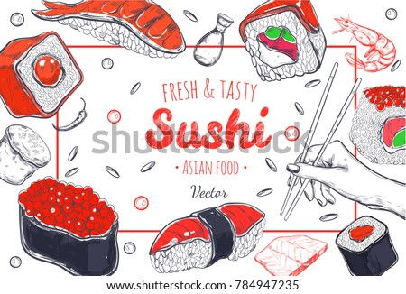 asian food poster vector hand