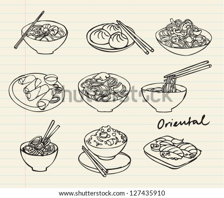 asian food set doodle