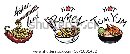 Asian food, soup, Ramen noodles, Tom Yam, etc., Soups, Oriental dishes. Spicy national dish of Thailand, Japan, Korea, Vietnam, China, etc. Dish with chopsticks. Vector isolated on a white. Foto stock ©