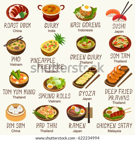 Asian foods vector set