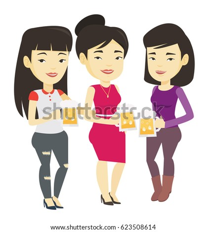 Asian friends clanging glasses of beer. Women toasting and clinking glasses of beer. Friends enjoying a beer at pub. Women drinking beer. Vector flat design illustration isolated on white background.