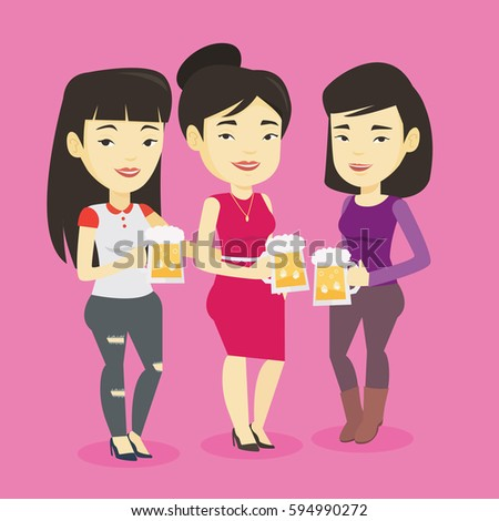 Asian friends clanging glasses of beer. Women toasting and clinking glasses of beer. Group of friends enjoying a beer at pub. Women drinking beer. Vector flat design illustration. Square layout.