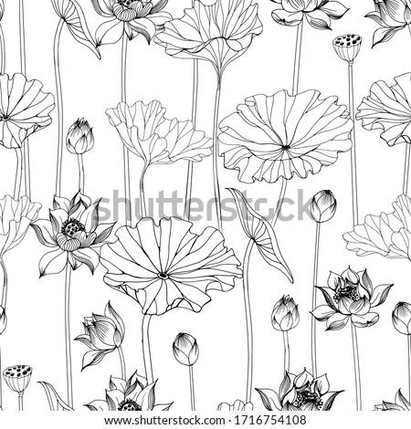 Asian garden. Hand drawn seamless pattern with  lotus flower Foto stock ©
