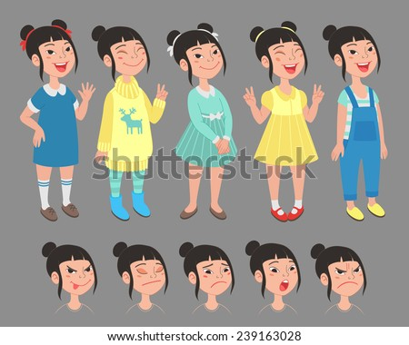 asian girl character set of