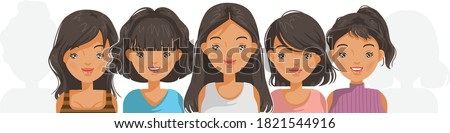 Asian girl group. Girl group face set. Japanese girls, Korean girls and  Indonesian girls group. Female portrait. Head, face and  hairstyle for puberty girl.