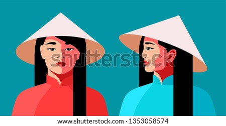 Asian girl in national conical straw hat. Two portraits, full face and profile face. Vector illustration