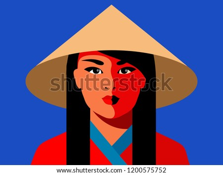 Asian girl in national conical straw hat. Vector illustration