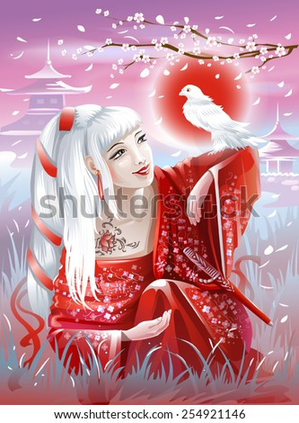 Stock Photo Asian girl in red kimono with a white bird in the hand. Vector illustration.