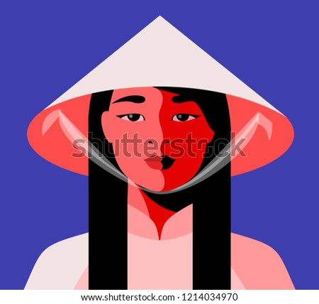 Asian girl in traditional national clothes and conical straw hat. Vector illustration