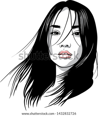 asian girl portrait vector