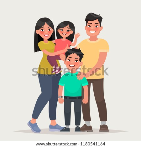 Asian happy family. Dad, mom, daughter and son together. Vector illustration in cartoon style
