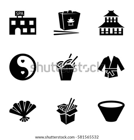 asian icons set. Set of 9 asian filled icons such as temple, spa building, chinese fast food, noodles fast food, yin yang, fan, bowl