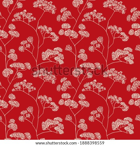 asian inspired red pattern of