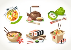 Asian kitchen food laksa soup tea pot ceremony zongzi sushi noodles chinese japanese thai dishes