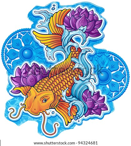 Asian Koi with Ornaments