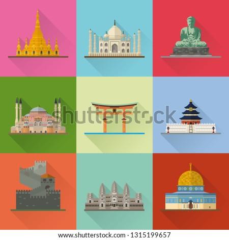 Asian Landmarks Flat Design Long Shadow Vector Illustration. Travel Concept.