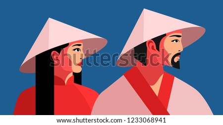 Asian man and woman in traditional national conical straw hats. Two portraits in profile. Vector illustration