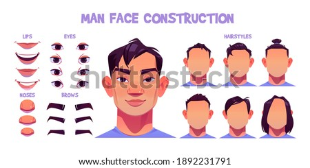 Asian man face construction, avatar creation with head parts isolated onwhite background. Vector cartoon set of male character eyes, noses, hairstyles, brows and lips. Skin pack for face generator