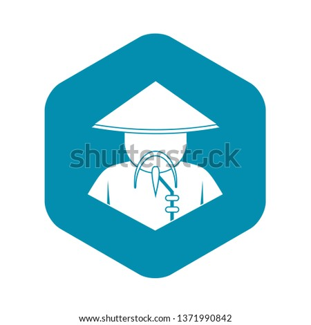 Asian man in conical hat icon. Simple illustration of asian man in conical hat vector icon for web