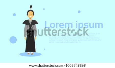 d079b342f7fb5 Asian Man Wearing Traditional Korean Costume Over Template Background With  Copy Space Flat Vector Illustration