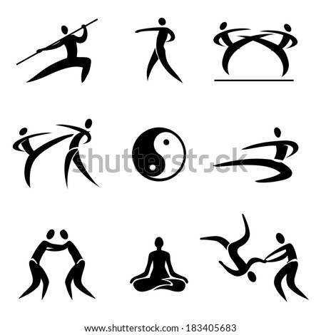 asian martial arts icons simple