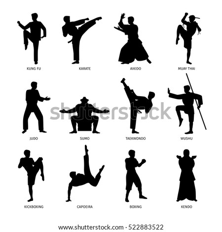 Asian martial arts, isolated vector black silhouettes. Karate and kung fu, sumo and boxing.