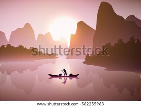 asian misty landscape