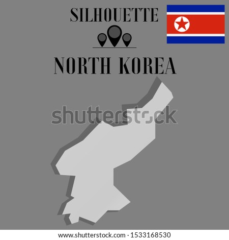 Asian North Korea outline world map silhouette vector illustration, creative design background, national country flag, objects, element, symbols from countries all continents set.