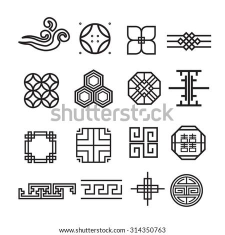 asian ornament icon  korean