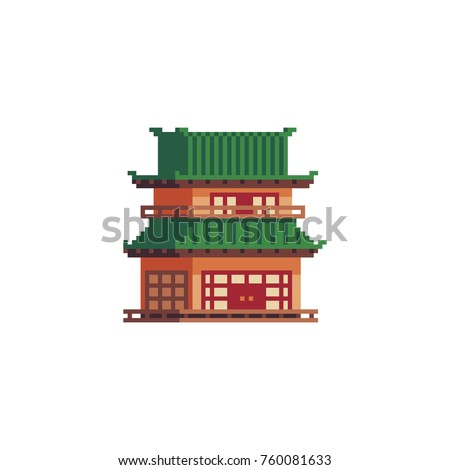 Asian pagoda pixel art icon. Japanese traditional building. Knitted design.  Isolated vector illustration. 8-bit sprite.