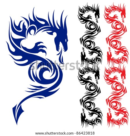 asian pattern tattoo dragon