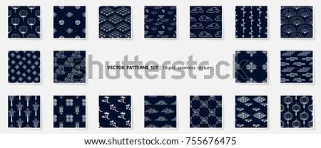 asian patterns set kabuki