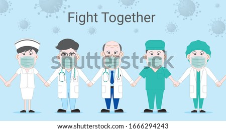 asian professor senior doctor man doctor woman nurse surgical doctor wear surgical medical mask hand in hand human wall fight together for protect covid19 corona virus cartoon style protection concept