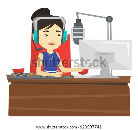 Asian radio dj in headset working on a radio station. Female radio dj working in front of microphone, computer and mixing console on radio. Vector flat design illustration isolated on white background