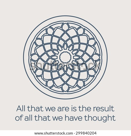 Asian religious circular ornament Vector illustration with lineart mandala and Buddha quote