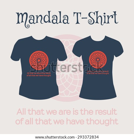 Asian religious circular ornament Vector t-shirt template with mandala design