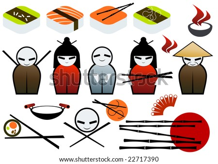 asian restaurant symbol collection