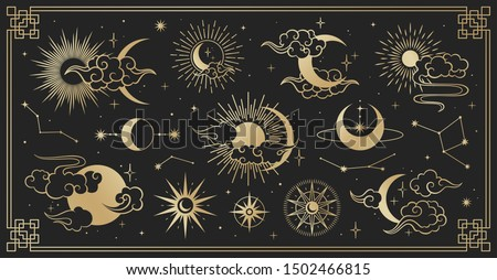 Asian set with clouds, moon, sun and  stars . Vector collection in oriental chinese, japanese, korean style. Line hand drawn illustration isolated on black background. Retro elements set.