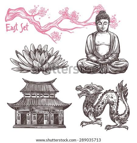 asian sketch set with lotus