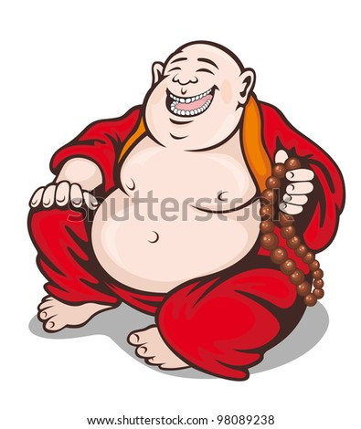 Asian smiling monk with rosary. Vector illustration