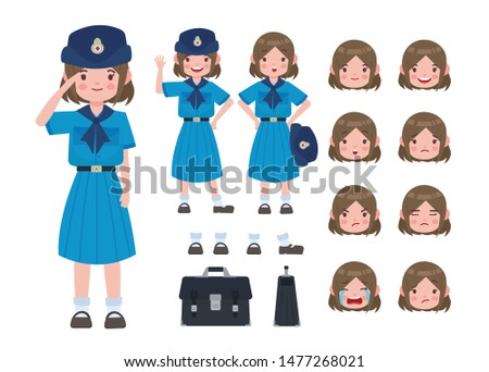 Asian student in girl scout uniform. Thai student. Student character on isolated background. Vector. Student character vector.