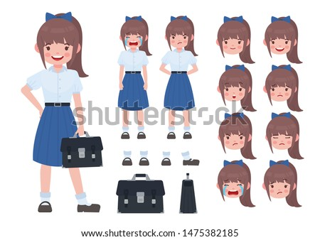 Asian student in school uniform. Thai student. Student character on isolated background. Vector. Student character vector.